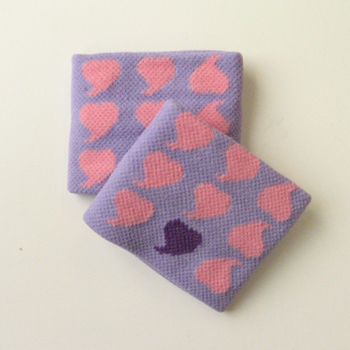 Pink Heart on Lavender Wristbands for Girls Teen women [2pairs]