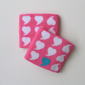 Childs White Heart on Pink Wrist Band for Girls and Teen 2pairs