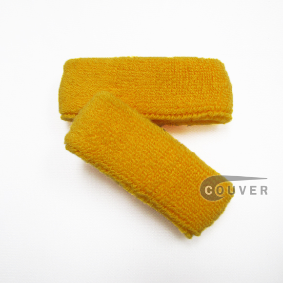 Gold Yellow 1inch thin cotton terry wrist sweatbands [3pairs]