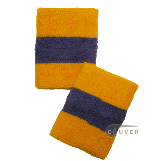 Golden Yellow / Laker Purple 2color striped wrist sweatband [6 pairs]