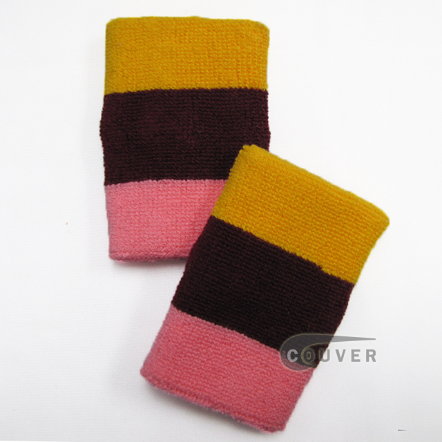 Golden yellow Maroon Pink 3color striped wrist sweatband