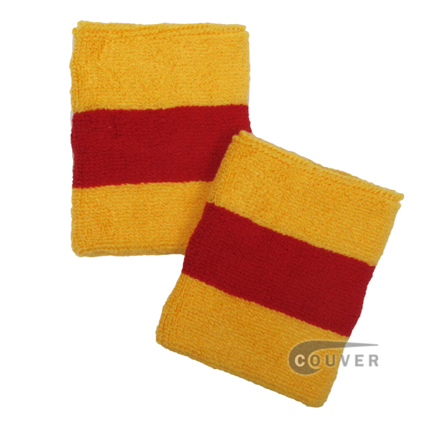 Yellow Red Yellow 2color striped wrist sweatband [6 pairs]