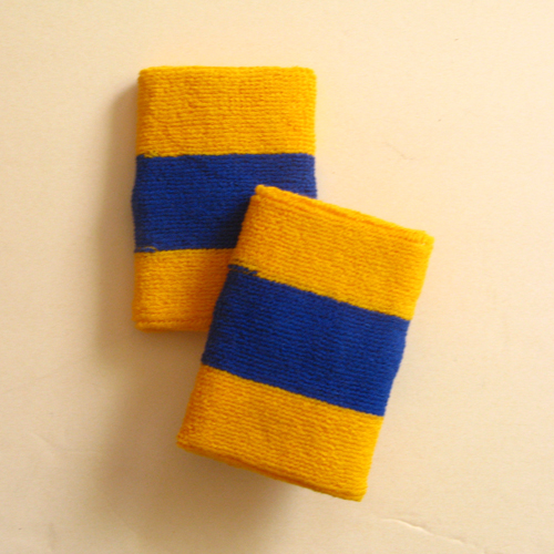 Golden yellow blue golden yellow 2color striped wrist sweatband
