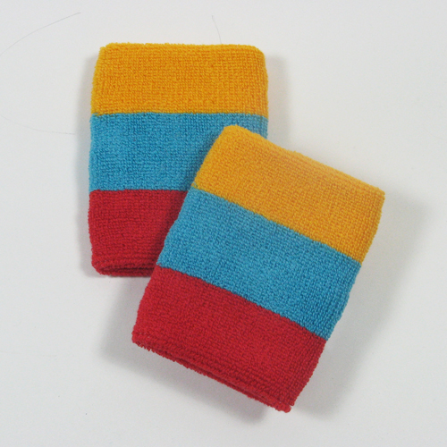 Golden yellow sky blue red striped sweatbands for wrist