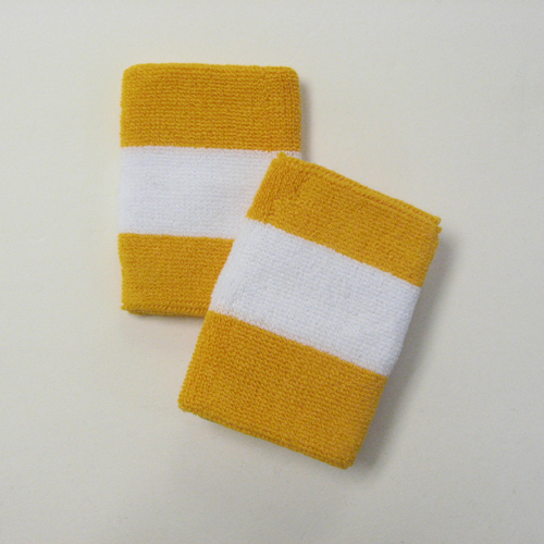 Golden yellow white goldenyellow 2colored sports sweat wristband