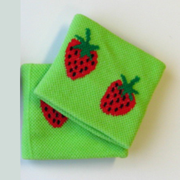 Cute wristband bright lime green strawberry for girls children