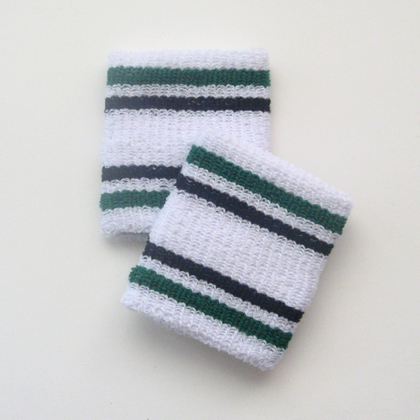 Green and black stripes in white cheap wristbands wholesale