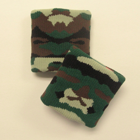 Green camouflage wristbands urban style [3pairs]