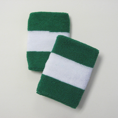 Green white green 2colored sports sweat wristbands wholesale
