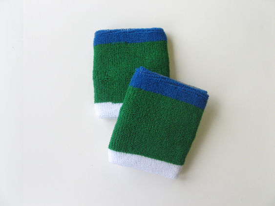Green with Blue & White trim athletic sweat wrist band [6pairs]