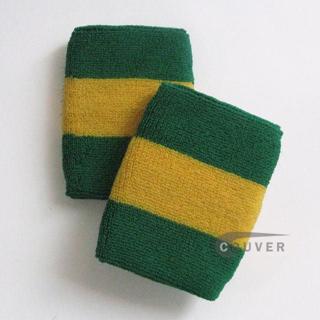 Green Yellow Green Striped Wrist Sweatbands Wholesale 6PAIRS