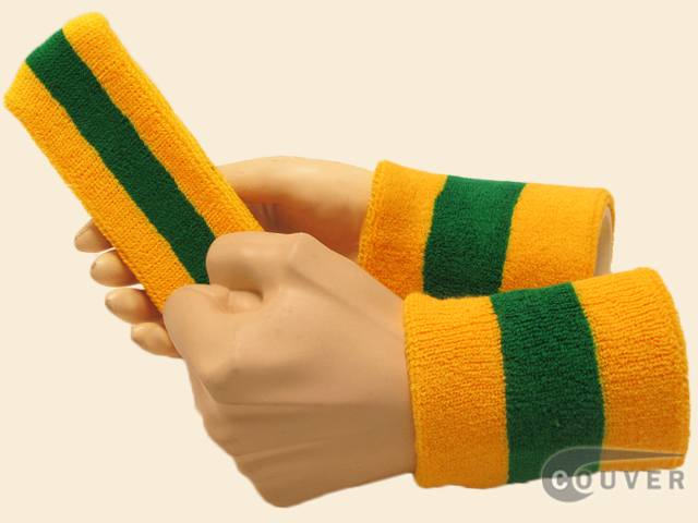 Yellow Green Yellow 2color striped sweatbands set