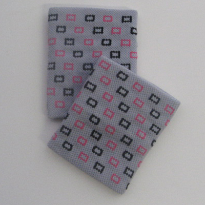 Square Pattern Light Grey Gir's Cute Wrist Bands [2pairs]