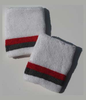 Red and Gray Bottom Stripe White Wristband [6 pairs]