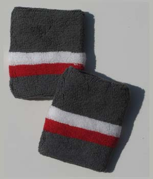 White and Red Bottom Stripe Charcoal Gray Wristband [6 pairs]