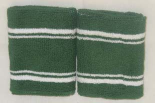 Tennis Wristbands Sweatbands Green with 4Lines Wholesale 6 Pairs