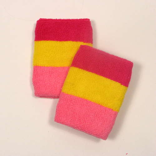 Hot pink bright yellow pink striped sweatbands for wrist