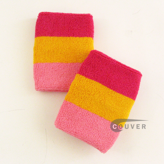 Hot Pink Gold Yellow Pink Stripe COUVER Wrist Sweatbands Wholesale 6PRs