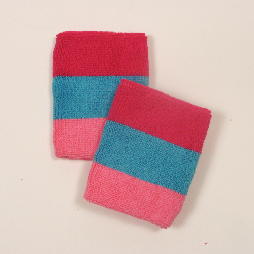 Hot pink sky blue pink striped sweatbands for wrist