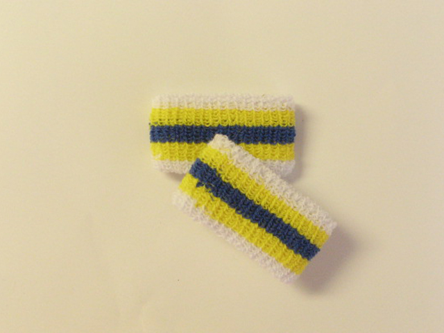 Kids Youth Boys Blue Yellow Stripe Wristbands Wholesale [6pairs]