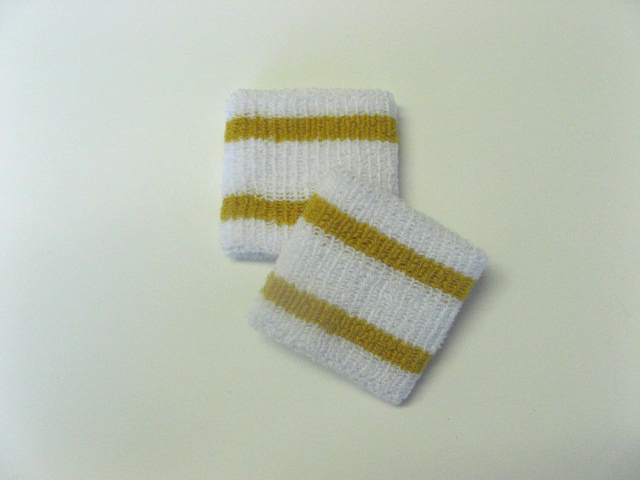 Wholesale Kids Youth Boy 2 Gold Stripe Sweat Wristbands [6pairs]