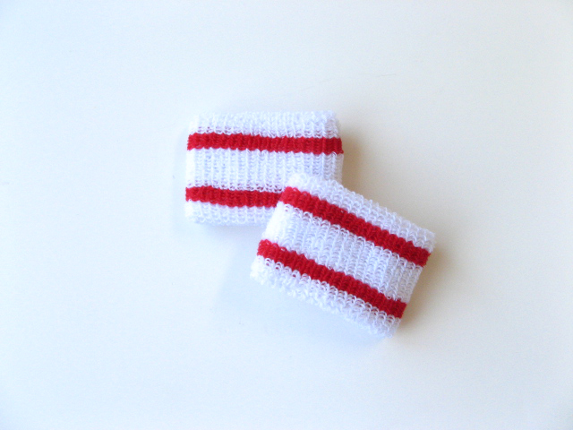 Wholesale Kids & Youth 2 Red Stripes Wrist bands [6pairs]