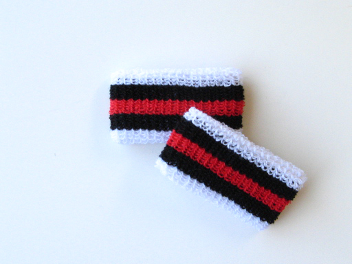 Wholesale Kids Youth Boy Red Black Stripe Wrist band [6pairs]