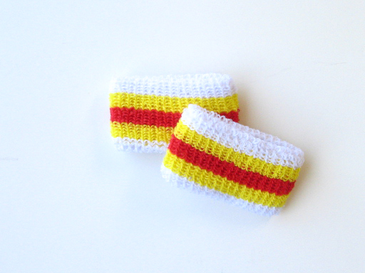 Wholesale Kids Youth Boys Red Yellow Striped Wristband [6pairs]