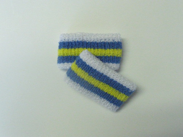 Wholesale Kids Yellow Cerulean Blue Striped Wristbands [6pairs]