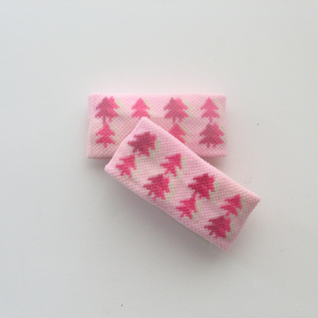 Kids Cute 1in Short Tree Pattern Light Pink Wristbands [2pairs]