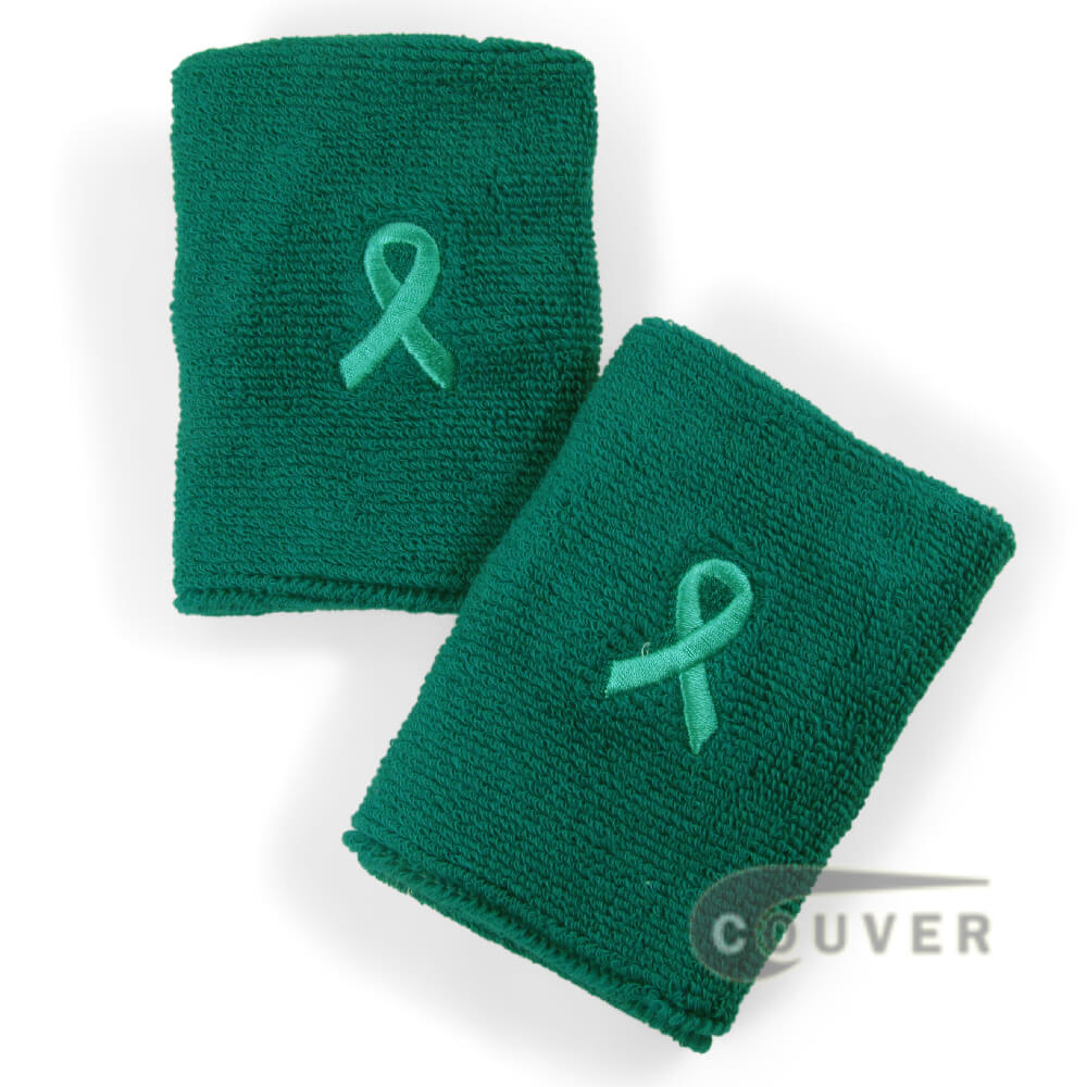 "Teal with Ribbon Ovarian Cancer Awareness 4"" Wrist Sweatbands [6 pairs]"