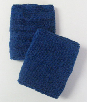 Blue Mens 4IN Wrist Sweatband (Sport Wristband) Wholesale 6PAIRS