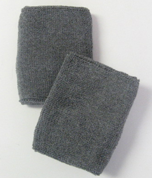 "Charcoal/Dark Gray 4"" Wrist Sweatband (Wristband) Wholesale 6PRS"