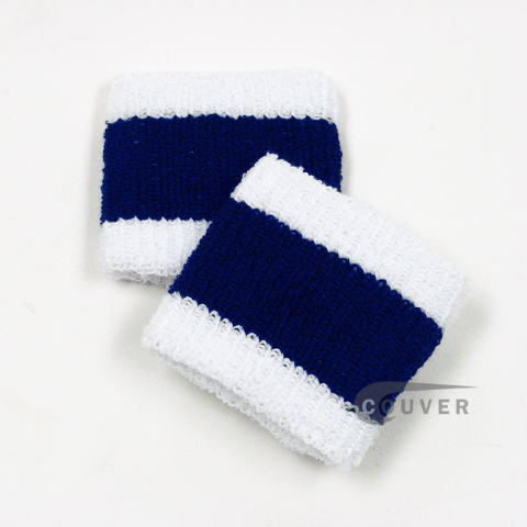"Navy Blue & White Striped Cheap 2.5"" COUVER Wristbands Wholesale 6PRs"