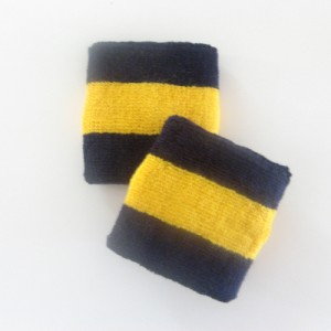 Navy golden yellow navy 2colored stripes youth sport wristbands