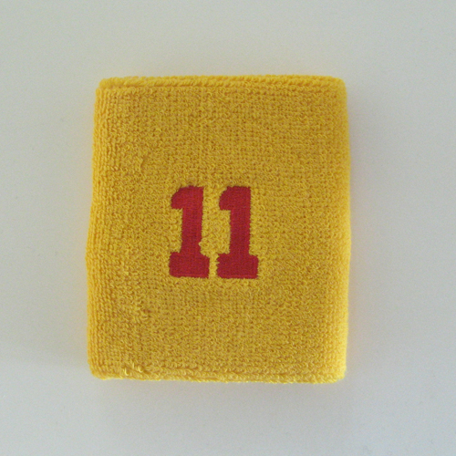 Number 11 eleven golden/mango yellow sweat wristband