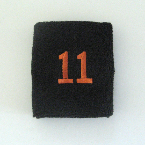 Embroidered Black Numbered sweat wristband WB104-BLK_11_DRKORG