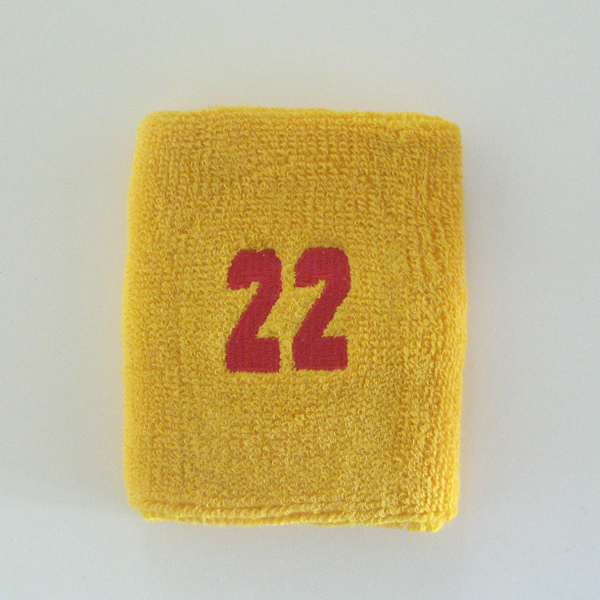 Numbered yellow mango gold sweatband 22 embroidered in red [1pc]
