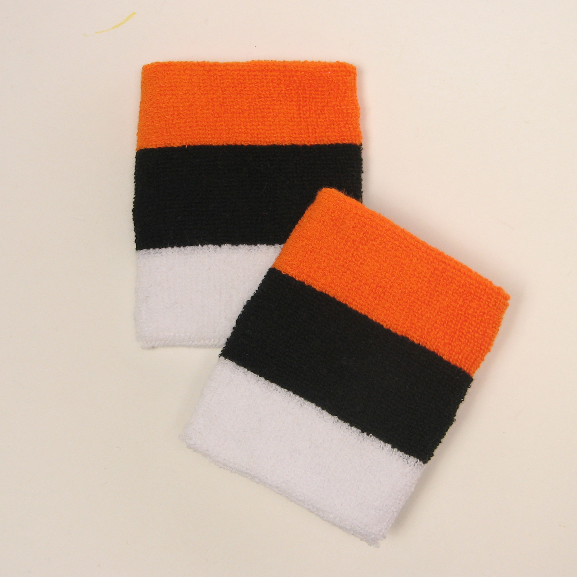 Orange black white 3color stripe wrist sweatbands wholesale