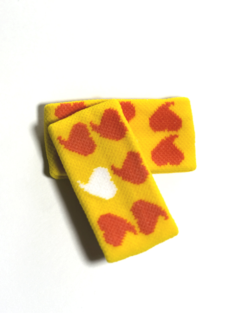 Childs 1in Orange Hearts on Mango Yellow Wrist Bands [2pairs]
