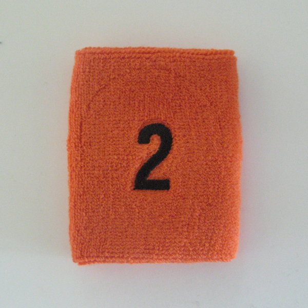 Orange numbered sweatband number2 embroidered in black [1pc]