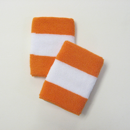 Light orange white lightorange 2colored sports sweat wristbands