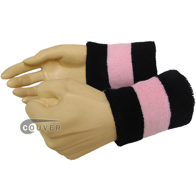 Black light pink black 2color sweat wristbands wholesale