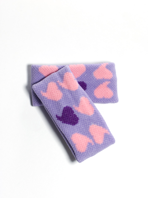 Kid Pink Heart on Lavender small Wristband for Girl Teens 2pairs
