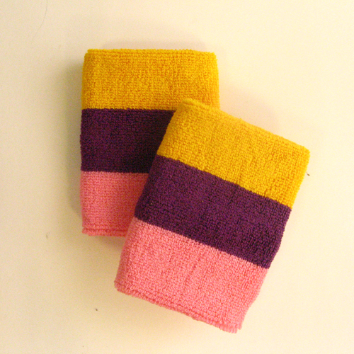 Golden yellow purple pink 3color striped wrist sweatband