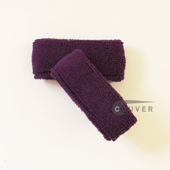 Purple 1inch thin cotton terry wrist sweatbands [3pairs]