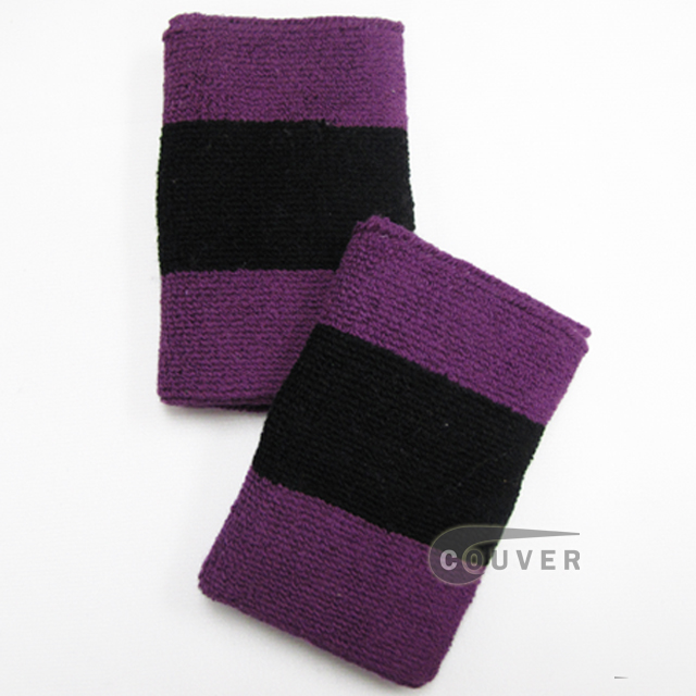 Purple Black Purple 2color striped wrist sweatband