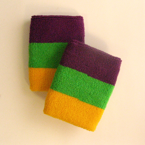 Purple bright green golden yellow 3color sweatband [6pairs]