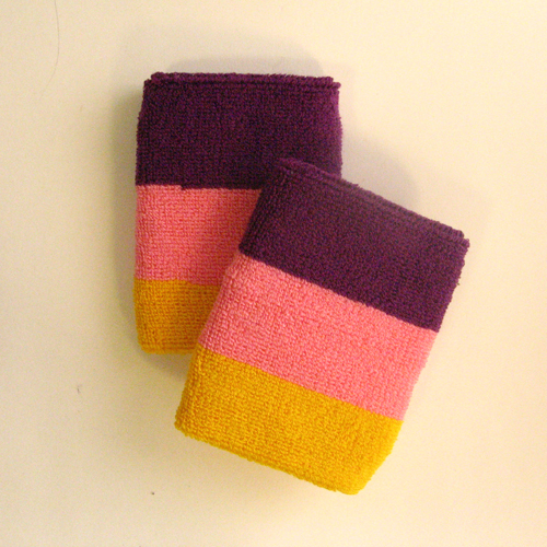 Purple pink golden yellow 3color striped wrist sweatband