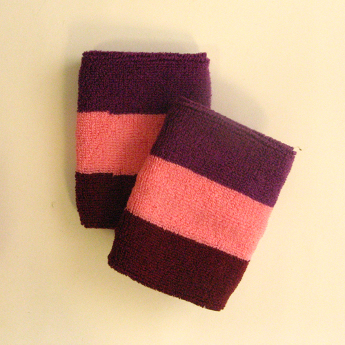 Purple pink maroon 3color striped wrist sweatband [6pairs]